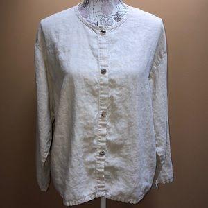Russ Berens Khaki Linen Button Down Top Large